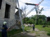 Rettung mittels Leiterhebel